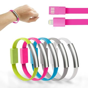 Apple 8pin 手環式 充電傳輸線-藍色/綠色/灰色/桃紅/白色
