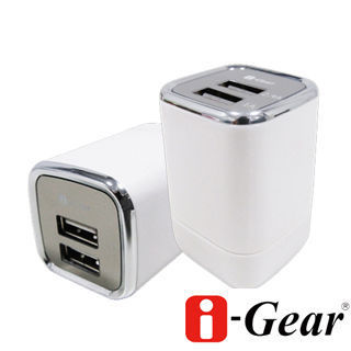 i-Gear 3.4A 藍光LED雙USB旅充變壓器(時尚白)