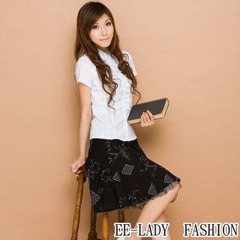 【EE-LADY】公主風荷葉蕾絲短袖-藍色(34-36)