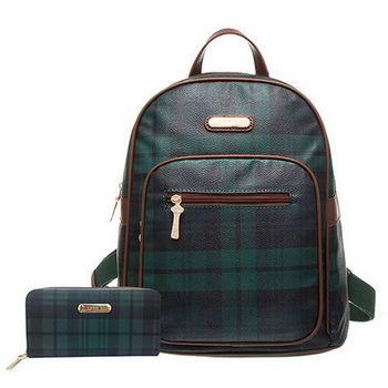 【XINWEI POLO】經典綠格後背包+皮夾