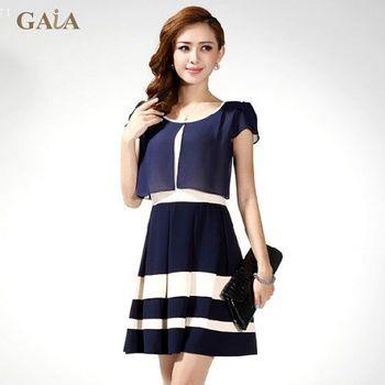 【GAIA】時尚修身假兩件雪紡洋裝