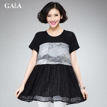 【GAIA】中大尺碼麥穗雪紡印花拼接蕾絲洋裝/長版上衣(XL-3XL)