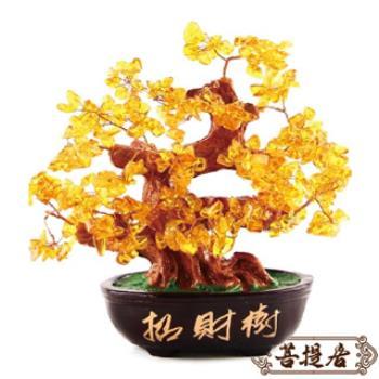 【菩提居】天然黃水晶招財樹(招財必備)
