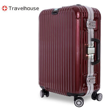 【Travelhouse】爵世風華 29吋PC鋁框鏡面行李箱(酒紅)