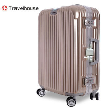 【Travelhouse】爵世風華 29吋PC鋁框鏡面行李箱(金色)