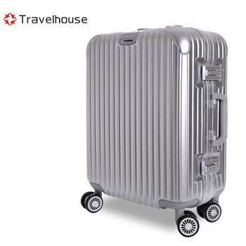 【Travelhouse】爵世風華 20吋PC鋁框鏡面行李箱(銀色)