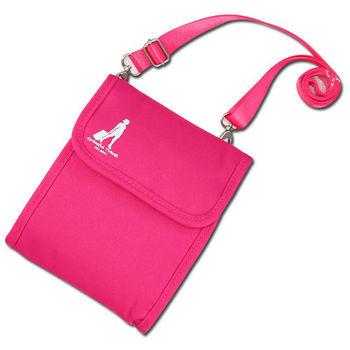 《旅行玩家》旅行多功能護照斜背包(桃紅色)