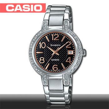 【CASIO 卡西歐 SHEEN 系列】日系經典款_氣質黑_施華洛世奇_晶鑽女錶(SHE-4804D)