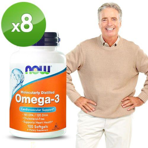 NOW健而婷-Omega-3亞米茄深海魚油 (100顆/瓶)八瓶組