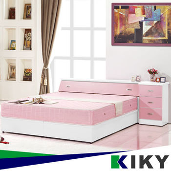 KIKY 粉紅波莉浪漫主義雙人三件床組(床頭+床底+床邊櫃)