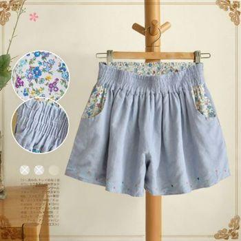 【Moriya 】棉麻刺繡口袋碎花寬鬆褲裙(雙面皆可穿) 現+預