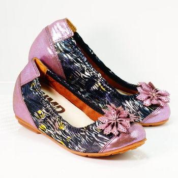 【諾曼地】MIT金屬亮彩皮花增高鞋(二色挑選)