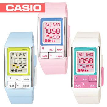 【CASIO 卡西歐】日系-彩色積木活潑亮麗電子女錶(LDF-51)