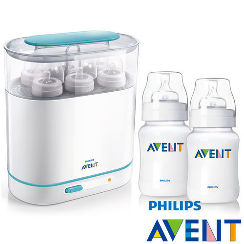 PHILIPS AVENT三合一蒸氣消毒鍋+PP防脹氣奶瓶260ml(雙入)