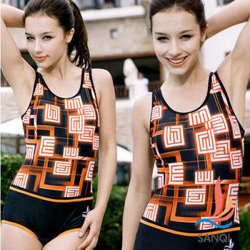 【SANQI三奇】夏日活力 連身式泳裝 泳衣(黑)-SQ13055