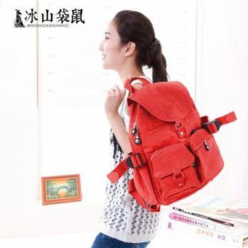 【冰山袋鼠】日韓系輕盈大容量收納雙口袋防水雙肩後背包◎大(橙紅)