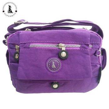 【冰山袋鼠】日系輕盈輕巧多收納側背包(靚紫)