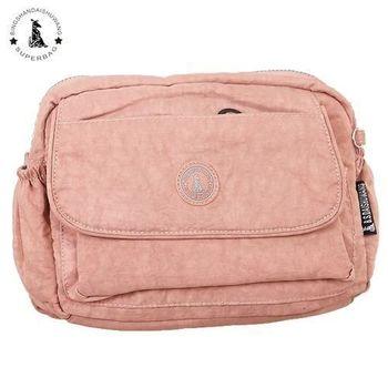 【冰山袋鼠】日系輕盈大口袋多隔層側背包(甜心粉)