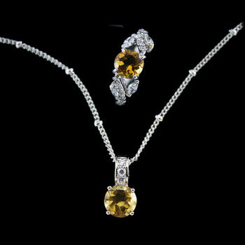【JA-ME】好財運開運彩寶系列項鍊戒指套組(天然黃水晶)