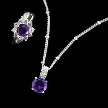 【JA-ME】好人緣開運彩寶系列項鍊戒指套組(天然紫水晶1)