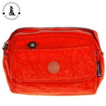 【冰山袋鼠】日系輕盈大口袋多隔層側背包(橙紅)