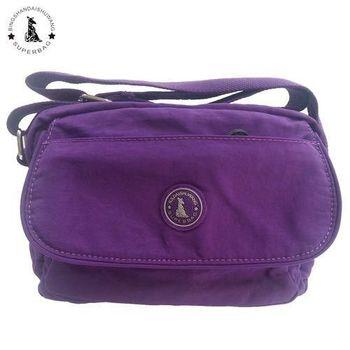 【冰山袋鼠】日系輕盈大口袋多隔層側背包(靚紫)