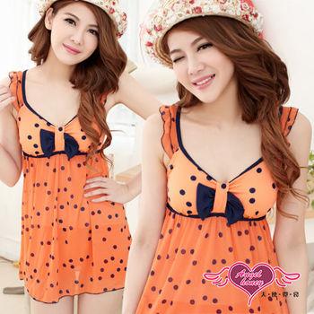 (均一499)【天使霓裳】俏麗點點荷葉邊 連身式泳裝(橘) -QD6337