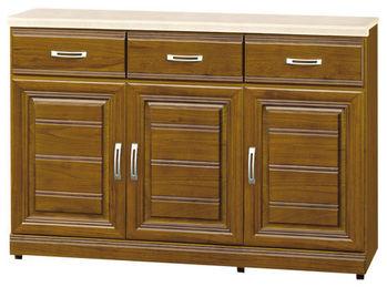 【時尚屋】[G15]帕爾樟木色實木4尺石面餐櫃284-4