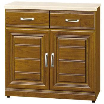 【時尚屋】[G15]帕爾樟木色實木2.7尺石面餐櫃284-3