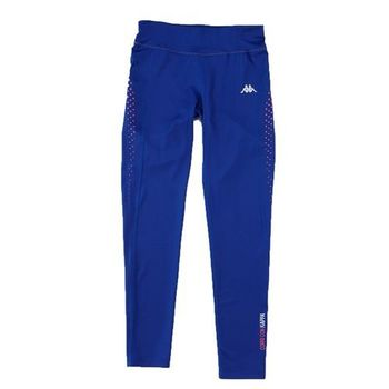 KAPPA義大利舒適時尚女吸溼排汗針織慢跑緊身褲(合身尺寸)1件~科技藍