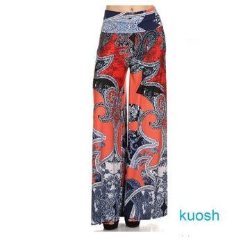 【Kuosh】美國進口歐式夢幻圖騰寬版長褲(現貨+預購)NS-5167