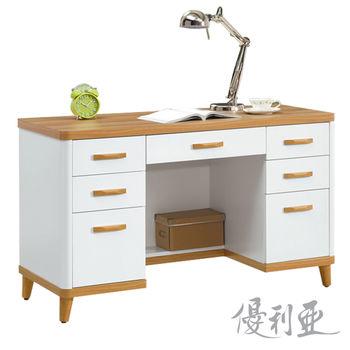 【優利亞-麗晶雙色】4尺書桌