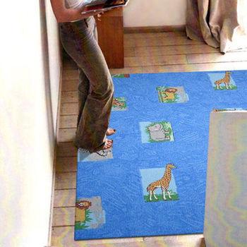 【范登伯格】新世代活潑生動地毯-動物園(藍)-100x150cm歡樂遊戲毯