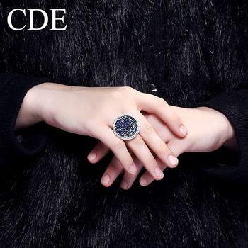 【CDE】施華洛水晶元素海洋藍寶石(戒指一個)