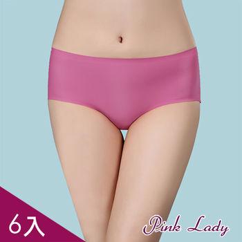 PINK LADY~亮彩鎖邊無痕萊卡中低腰提臀內褲*6件組