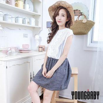 【YOUNGBABY】 花蕾絲無袖腰鬆緊腰接口袋藍裙洋裝