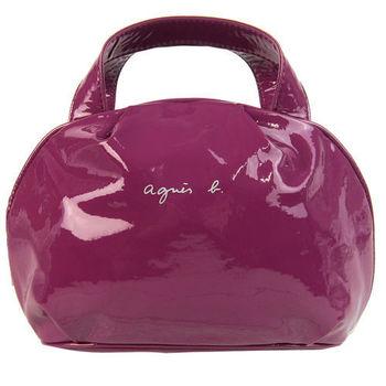 agnes b. 亮面漆皮小手提包(紫紅)