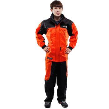 天龍牌 新重裝上陣F1機車型風雨衣( 橘色)+通用鞋套