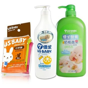 【優生】酵素奶瓶蔬果清潔劑+蔬果奶瓶清潔劑1000ml(柚香)+口手臉濕巾8抽3包(2組)