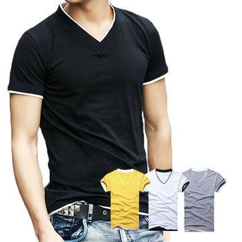 【ENNE】百搭純色假兩件短袖修身男士V領上衣T恤/四色(Q1091)