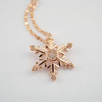 【xmono】雪花飄飄純銀項鍊(玫瑰金)