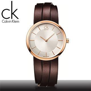 【瑞士 CK手錶 Calvin Klein】造型皮帶女錶 玫瑰金(K2R2S6G6)