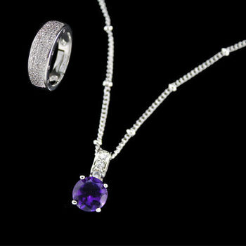 【JA-ME】開運彩寶系列項鍊戒指套組(天然紫水晶)