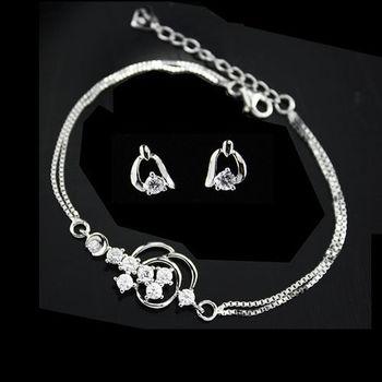 【xmono】幸福限定純銀手鍊耳環組