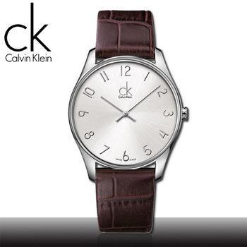 【瑞士 CK手錶 Calvin Klein】數字刻度_大錶徑_皮革男錶(K4D211G6)