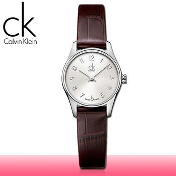 【瑞士 CK手錶 Calvin Klein】數字刻度_銀白面_皮革女錶(K4D231G6)