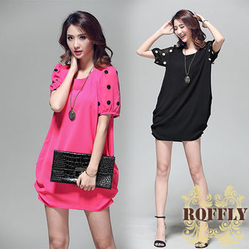 【ROFFLY蘿芙莉】預購-韓版時尚點點燈籠版型透視網紗五分袖圓領洋裝 (WM2025)