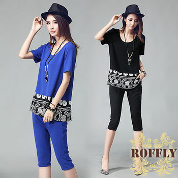 【ROFFLY蘿芙莉】預購-韓版高級時尚印花拼接上衣+內搭褲二件式套裝 (WM8008)