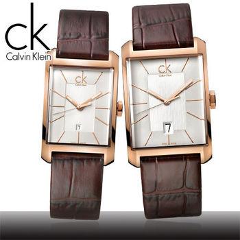 【瑞士 CK手錶 Calvin Klein】情侶對錶-方型玫瑰金(K2M21620+K2M23620)