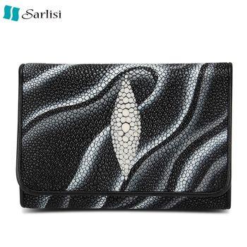 Sarlisi 輕奢臻品珍珠魚真皮夾(黑色、紅色)